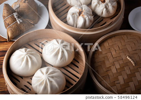 chinese steamed bun in traditional bamboo steamer 58496124