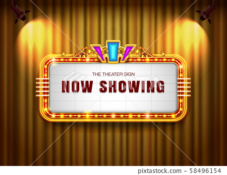 Theater sign retro on curtain with spotlight 58496154