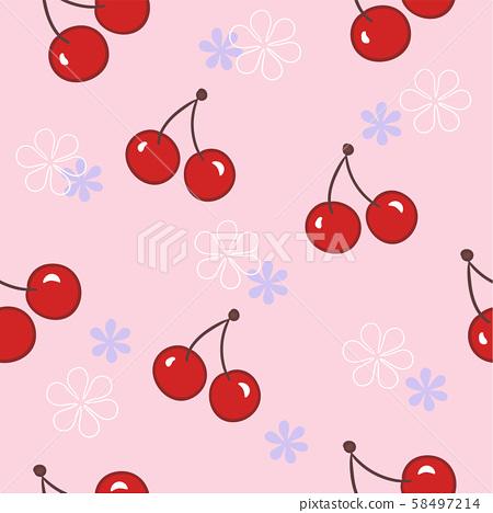 红色樱桃和花朵的组合,无缝向量图 58497214