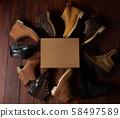 Leather shoes around cartoon box 58497589