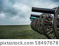Old Civil War cannon line prepared for battle 58497678