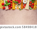 Pasta ingredients on light rustic background with copy space 58498418
