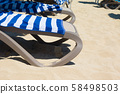 sun lounger chair on a beautiful beach 58498503