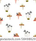 seamless pattern of mushroom 58498620