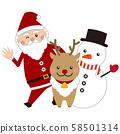 圣诞圣诞老人,驯鹿和雪人 58501314