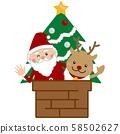 圣诞圣诞老人和驯鹿和圣诞树 58502627