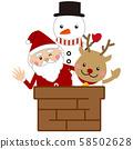 圣诞圣诞老人,驯鹿和雪人 58502628