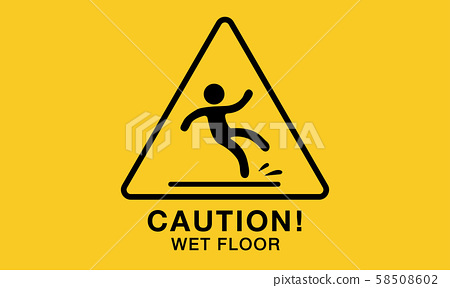 wet floor icon,yellow caution sign 58508602