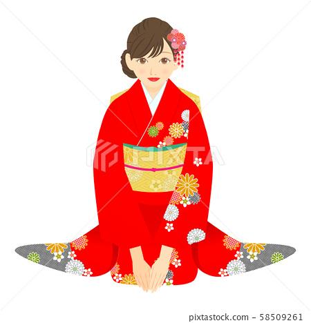 앉아 붉은 기모노를 입은 여성 02 58509261