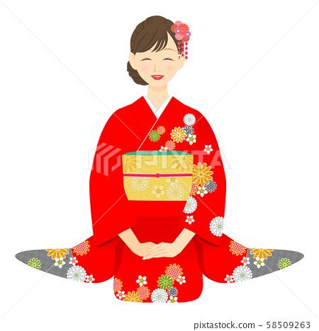 앉아 붉은 기모노를 입은 여성 04 58509263