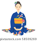 Sitting woman wearing blue kimono 03 58509269