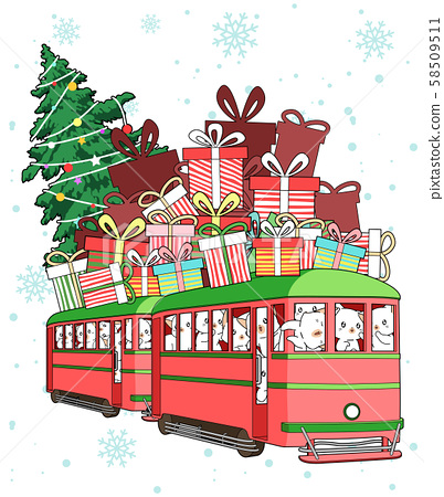 Kawaii cat characters in the Christmas tram with gifts and Christmas tree 58509511