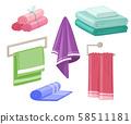 Household towels. Cotton bathroom hygiene towel vector isolated set 58511181