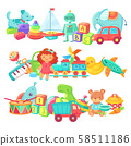 Toy piles. Kids toys groups. Cartoon baby doll and train, ball and cars, boat isolated children 58511186
