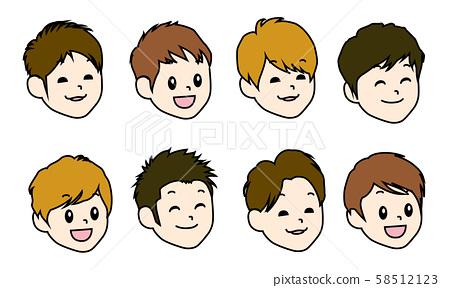 8 종류의 소년의 얼굴 일러스트 세트 58512123