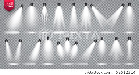 Vector spotlight set. Bright light beam. Transparent realistic effect. Stage lighting. Illuminated 58512314