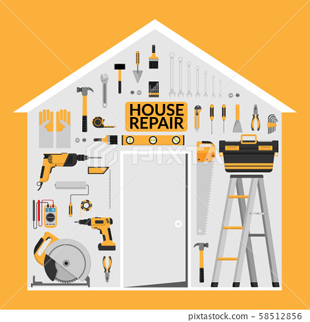 set of DIY home repair working tools vector logo design template under roof in home shape. home repair banner, construction , repair icons. hand tools for home renovation & construction. flat design 58512856