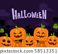 Halloween pumpkin border. Scary pumpkins in witch hat decoration frame, orange squash vector 58513351