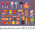 Halloween candy. Sweet candies, scary bat lollipop and sweets liquorice butterscotch vector 58513358