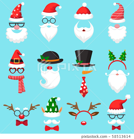 Christmas cartoon hats. Xmas santa hat, elf cap and reindeer photo mask. Santas beard and mustaches 58513614