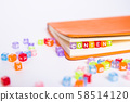 CONTENT word on colorful bead block as bookmark in book. content marketing idea concept 58514120