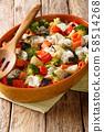 Hot healthy gratin of potatoes, carrots, eggplant, 58514268