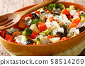 Healthy baked vegetables with mozzarella cheese 58514269
