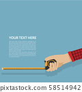 simply measure tape in hand isolated on blue background with copy space. vector illustration flat design. construction, engineering, repair concept. template for your text 58514942