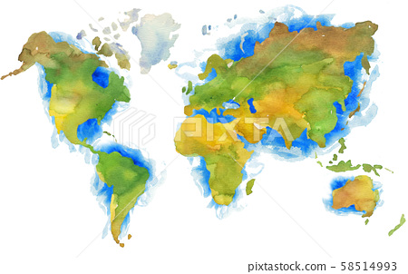 Illustration of hand painted Earth map in watercolor style. 58514993