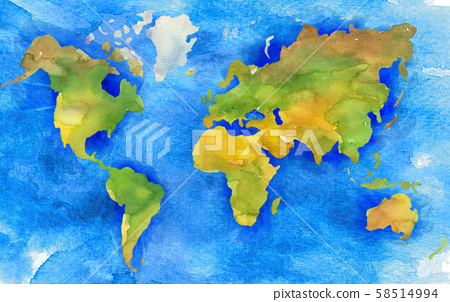 Illustration of hand painted Earth map in watercolor style. 58514994