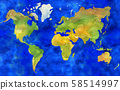 Illustration of hand painted Earth map in watercolor style. 58514997