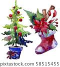 Christmas winter holiday symbol isolated. Watercolor background set. Isolated christmas illustration 58515455