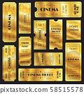 Realistic golden show ticket. Old premium cinema 58515578