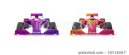 Racing bolides sport cars, modern graphic gradient illustrations in two colours 58516067