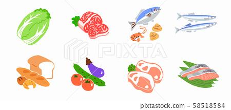 食材肉魚蔬菜麵包 58518584