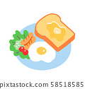 Breakfast Toast and fried egg 58518585