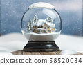 Merry christmas snow globe with a house on 58520034