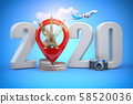 2020 Happy new year. Number 2020 and pin with most 58520036