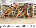 2020 new year education concept. Bookshelves with 58520037