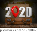 2020 Happy new year. Vintage suitcase with number 58520042