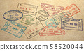 Background from different visa stamps on craft 58520044