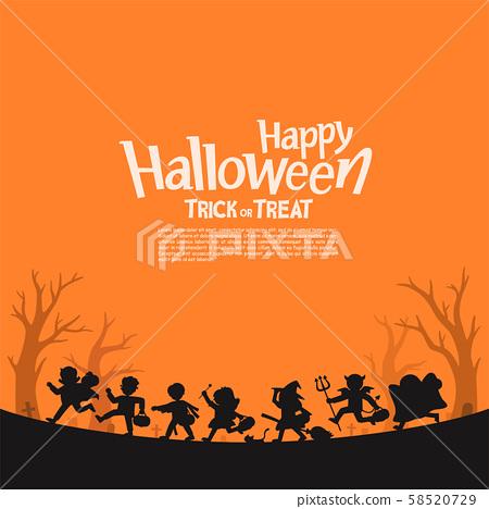 Children in Halloween fancy dress to go Trick or Treating. 58520729