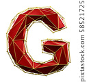 Capital latin letter G in low poly style red and gold color isolated on white background. 3d 58521725