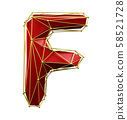 Capital latin letter F in low poly style red and gold color isolated on white background. 3d 58521728