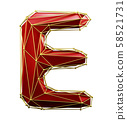 Capital latin letter E in low poly style red and gold color isolated on white background. 3d 58521731