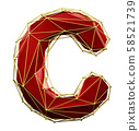 Capital latin letter C in low poly style red and gold color isolated on white background. 3d 58521739