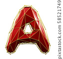 Capital latin letter A in low poly style red and gold color isolated on white background. 3d 58521749