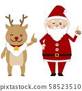 圣诞圣诞老人和驯鹿指向 58523510