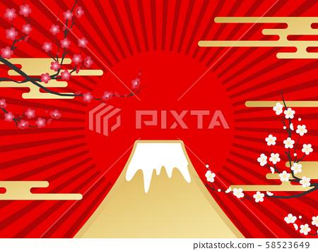 富士山(新年影像素材) 58523649