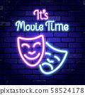 Cinema and Movie time neon signboard 58524178